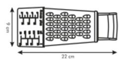 Tescoma 4 oldalú reszelő- méretek