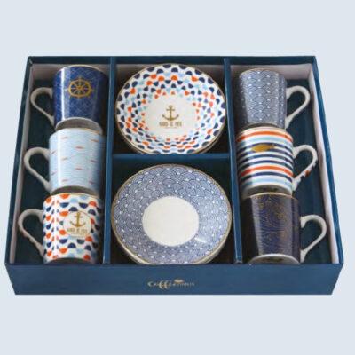 Bord de Mer 6 darabos 10 cl-es porcelán kávés készlet