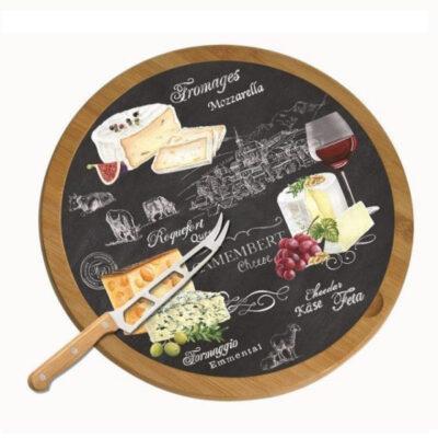 World of Cheese 32 cm-es forgó fa sajttál