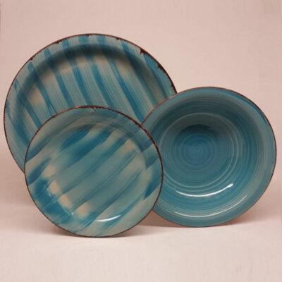 Kepos blu 18 darabos kék kerámia készlet