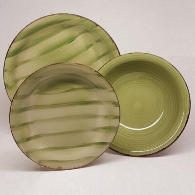 Kepos Verde 18 darabos zöld kerámia étkészlet