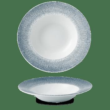 Raku Blue kerek peremes mély kerámia tányér 28 cm