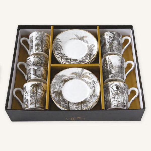 Retro Jungle 6 darabos 10cl-es porcelán kávés készlet