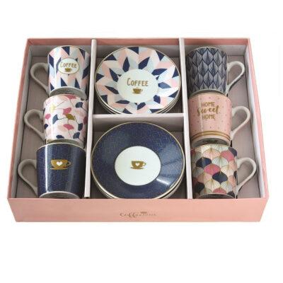 Sweet Home 6 db-os, 10 cl-es porcelán kávéskészlet