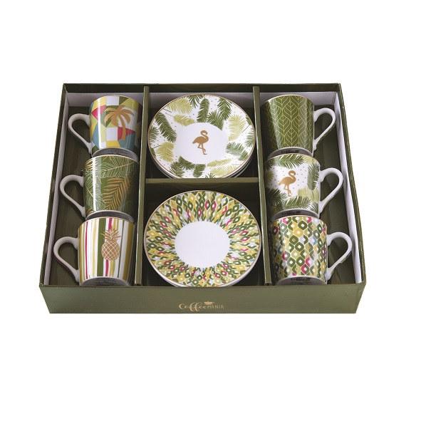 Tropical 6 db-os 10 cl-es porcelán kávéskészlet