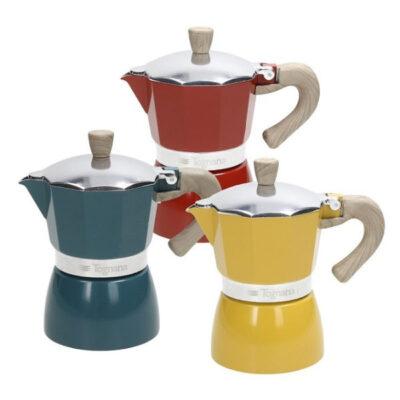 Vintage 3 személyes színes alumínium kávéfőző