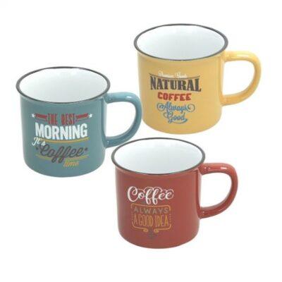 Vintage 39 cl-es színes kerámia kávés bögre